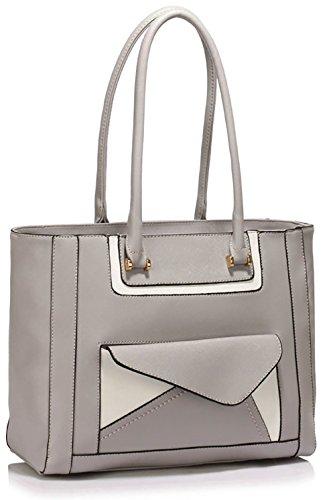 ANNA GRACE - Bolso al hombro de piel sintética para mujer Design 1 - Grey