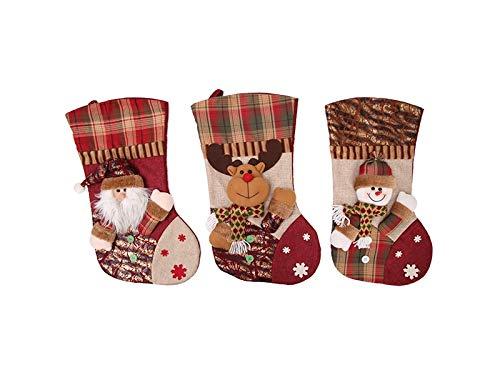 Yunqir Lattice Linen Christmas Stocking Candy Bag Gift Bag Christmas Tree Decoration(Snowman) by Yunqir (Image #1)
