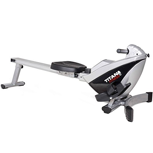 Titan Adjustable Magnetic Resistance Rowing Machine w/LCD Screen Rower Folds Up & Saves Space