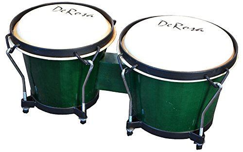 - 7 and 8 Inch Bongos - Tunable Bongo Drums w Buckskin Heads - Green