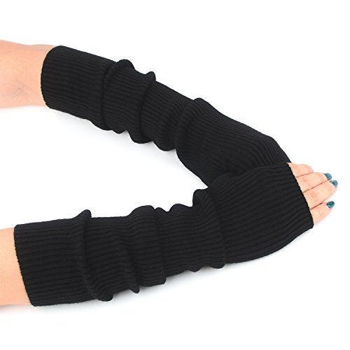 Women Cozy Wool Knit Long Fingerless Gloves Arm Warmers with Finger Holes (Black)