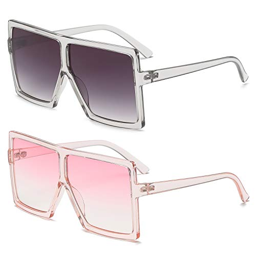 GRFISIA Square Oversized Sunglasses for Women Men Flat Top Fashion Shades (2PCS-clear gray-clear pink, 2.56) (Fashion Square)