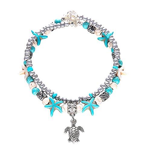 - bjduck99 Women Boho Double Layer Beaded Starfish Turtle Charm Turquoise Chain Ankle Bracelet