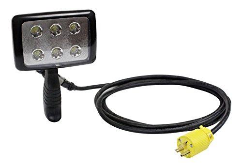 6 Watt LED Handheld Light with Pistol Grip Handle - 3ft Cable w/ Plug - 120-277V or 12/24V(-Intl Schuko)