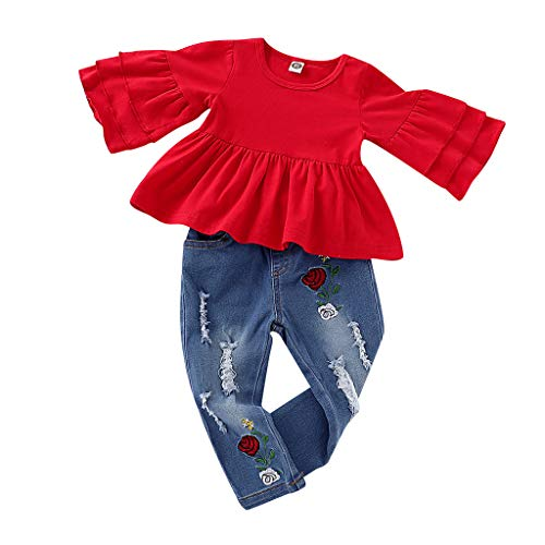 (Baby Girls Clothes Set for 1-4 Years Toddler Kids Newborn Frill T-Shirt Tops+Embroidered Denim Trousers 2Pcs Outfits (Red, 18-24 Months))
