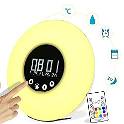 Wake-up Light, YOKKAO LED Sunrise Simulation Alarm Clock Touch Control Support Date Temperature Humidity Display with Remote Controller