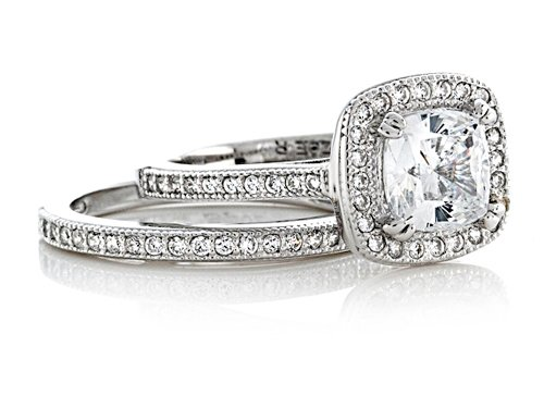 Zoe R Sterling Silver Micro Pave Hand Set Cubic Zirconia Halo 6mm Cushion Cut Center Wedding Set Size 6 by Zoe R (Image #1)