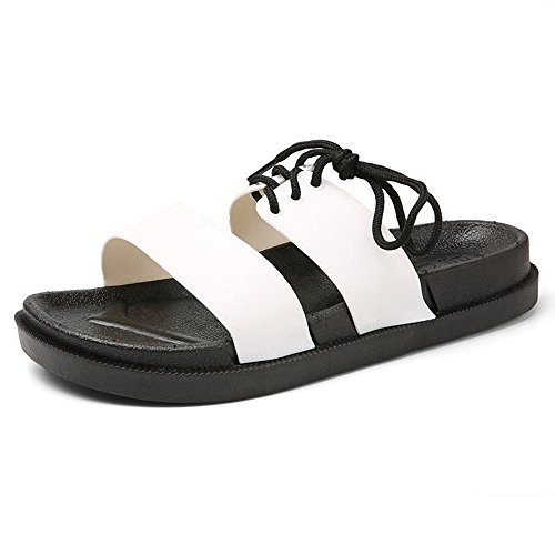 Sandals MAZHONG Slippers Men's Summer Outdoor Casual (Color : Black, Size : EU38/UK5.5/CN38) White