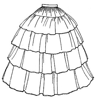 Victorian Costume Dresses & Skirts for Sale 1854 Flounced Skirt Pattern                               $12.85 AT vintagedancer.com