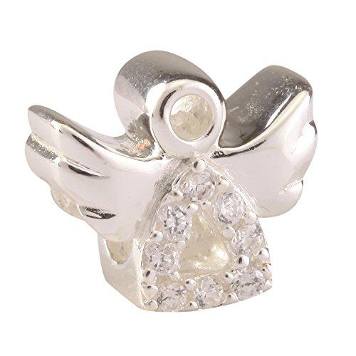 Lovely Sterling Silver Charm Angel Bead Clear Swarovski C...