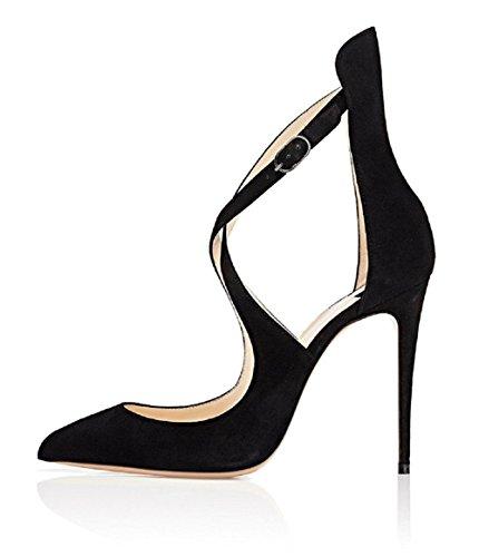 Stiletto Criss Cross Ankle Strap (UMEXI Women Pointed Toe High Heels Criss Cross Ankle Strap Sandals With Stiletto Heel Black Suede 7 M US)