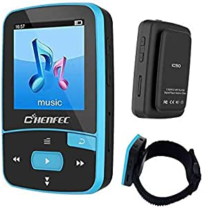 16GB Bluetooth MP3 Player, Sports Clip Hi-Fi Sound Music Player with FM Radio, Pedometer, 1.5 Inch OLED Screen, Support Micro SD Card up to 64GB DeeFec-C50-16GB-Blue