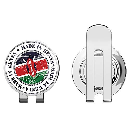 TG Graphics Made in Kenya Grunge Flag Stamp Art Round Golf Hat Clip with Magnetic Ball Marker