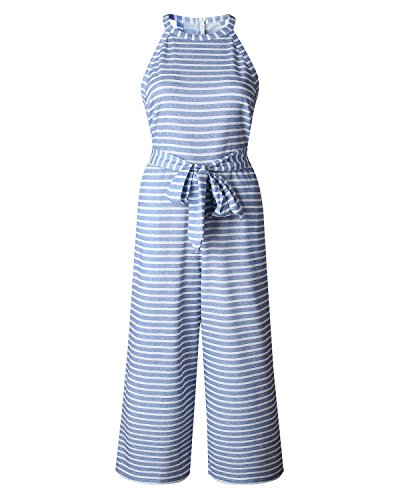AELSON Women Sleeveless Striped Jumpsuits Waist Belted Wide Leg Pants Romper with Pockets by AELSON (Image #4)