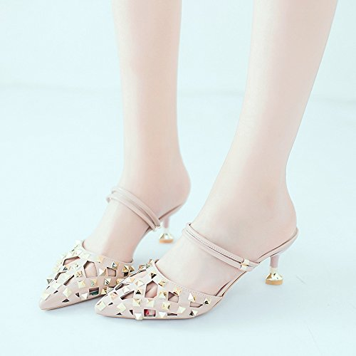 Rivets Shoes Wild Slippers Comfort Wear Women'S Baotou Outside And Casual With To Pair Fashion Sandals A Pointed Summer Fine Of Pink Sandals Wear The xwfqzH
