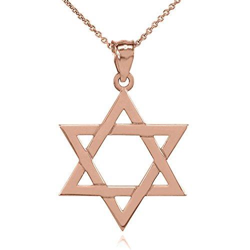 Collier Femme Pendentif Solide 10 Ct Or Rose Juif Étoile De David (Médium) (Livré avec une 45cm Chaîne)
