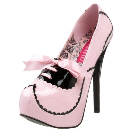 Bordello Door Pleaser Vrouwen Teeze-01 Platformpomp Baby Roze-zwart