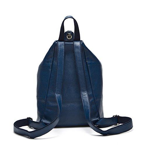 Genda 2Archer Korean version Piel Genuina Moda Mochila bolsa de hombro paquete de ocio para las mujeres y las niñas (Azul) Azul