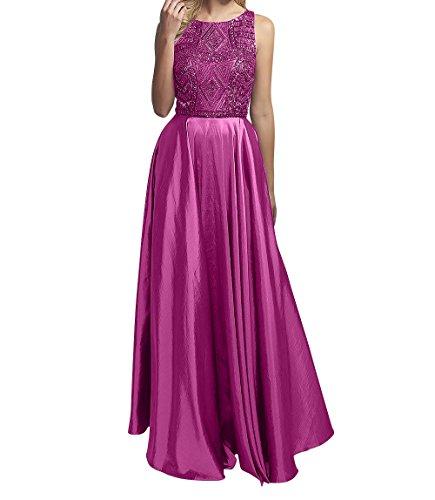Pink Partykleider Brautmutterkleider Langes Marie Braut La Linie Tanzenkleider Perlen Abendkleider Satin A qPB04R
