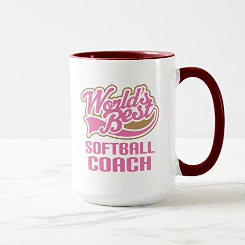 Zazzle Softball Coach Gift Two-tone Coffee Mug, Maroon Combo Mug 15 oz