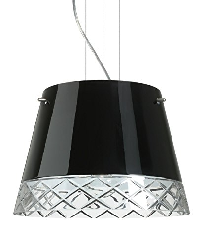 (Besa Lighting 1KV-4340BC-LED-SN 3X6W GU24 Amelia 15 LED Pendant with Black/Hand-Cut Glass, Satin Nickel Finish)