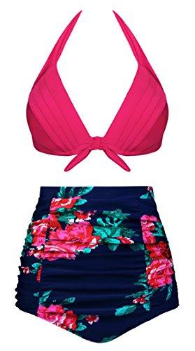 Dot A Retro Polka Rosa Bikini alta Costumi Angerella vita Halter Bagno Neck da TqBwwXxZI