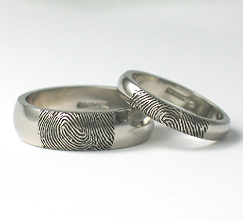 rings of wedding on mens band outside fingerprint engagement men s