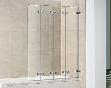 Delightful 4 Panel Semi Frameless Folding Bath Screen