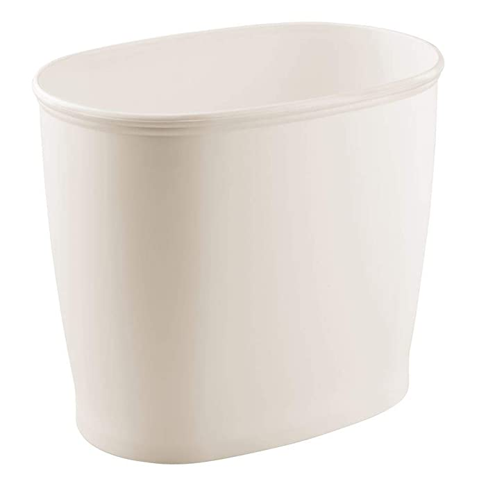 mDesign Modern Oval Plastic Small Trash Can Wastebasket, Garbage Container Bin for Bathroom, Kitchen, Laundry Room, Home Office, Dorms - Cream