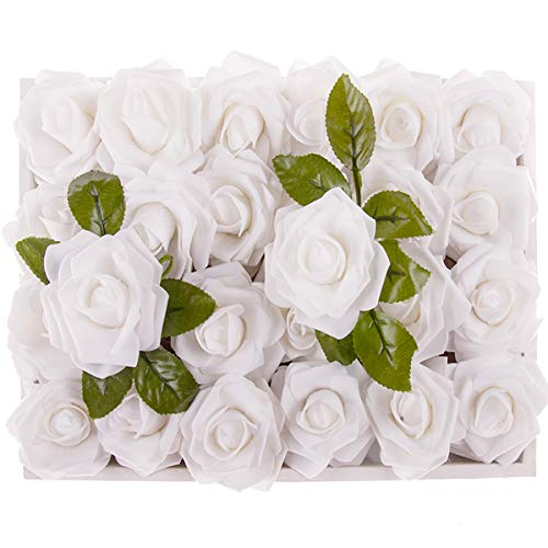 M&A Decor Easter Artificial Flowers 30 PCS Real Touch Fake Roses for DIY Wedding Bridal Bouquet Wreath Table Centerpieces ()