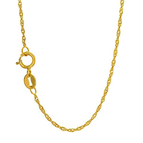 JewelStop 10k Solid Yellow Gold 1 mm Singapore Chain Necklace, Spring Ring Clasp - - Solid Gold Chain 10k