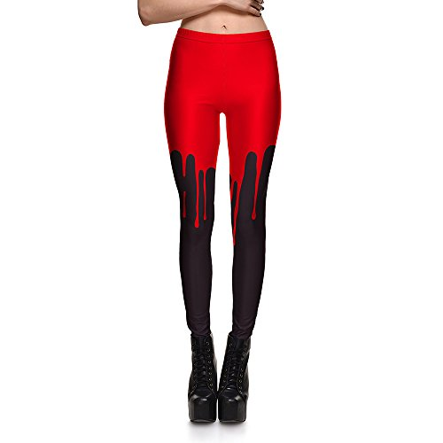 Women's Bloody Print Halloween Party Yoga Pants Leggings Butt Lift High Waist Fitness Legging, Multi, (Halloween Makeup Pinterest)