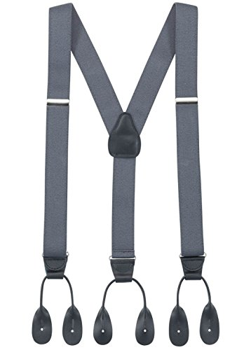 Hold'Em Suspender for Men Made in USA Y-Back Genuine Leather Trimmed button end tuxedo suspenders Many colors and designs - Grey (Regular, 46
