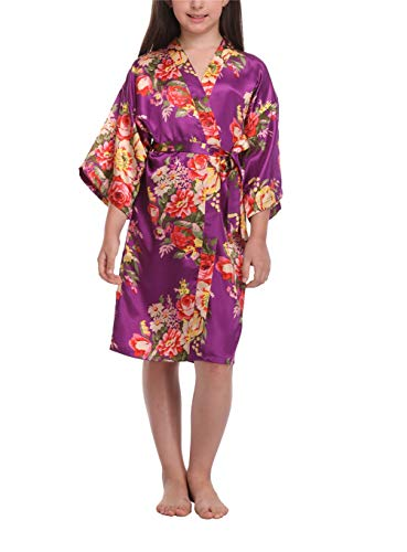 Holiday Spa - Little Girls Floral Robes for Spa Wedding Party Nightgown Nightwear Dark Purple