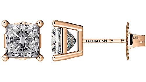 Rose Cut Earrings - NANA Silver Princess CZ Stud Earrings with 14k Solid Gold Post-5.5mm-2.00cttw-Rose Gold Plated