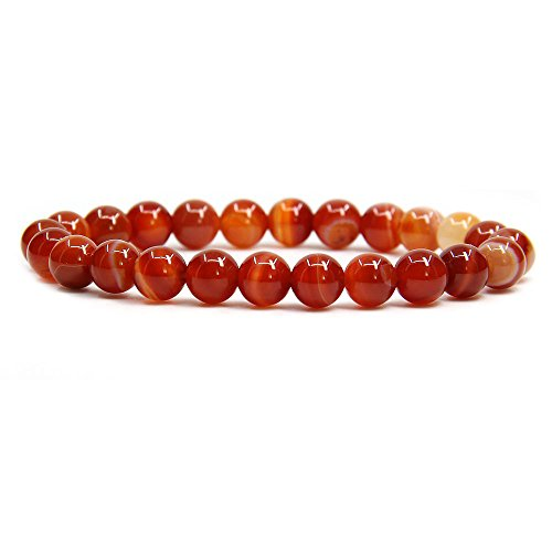 Natural Red Banded Agate Handmade Gemstone 8mm Round Beads Elastic Bracelet 7