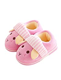 ONCAI Kid's Cute Bunny Cotton Plush Warm House Slippers Non-Slip For Toddler Little Kid