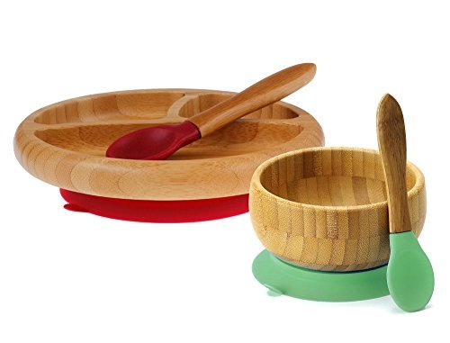 Avanchy Feeding Bamboo Silicone Baby Bowl and Plate Set