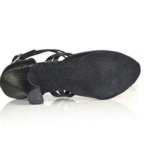 Negro Correa Xianshu Zapatos Talón Zapatillas Mujeres Zapatos Medio Hebilla Latín Cruzada Baile 6qPqt