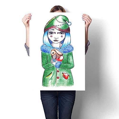 - Anshesix Modern Canvas Painting Wall Art Winter Blue Hairstyle Girl in hat and Coat with Rabbit Wall Stickers 20