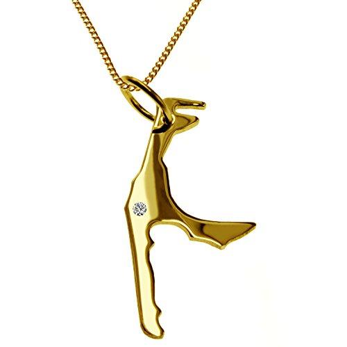 Endroit Exclusif Sylt Carte Pendentif avec brillant à votre Désir (Position au choix.)-avec Chaîne-massif Or jaune de 585or, artisanat Allemande-585de bijoux