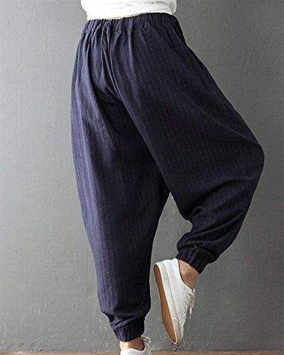 Lunga Elastica Pantaloni Eleganti Modern Chic Abbigliamento Pluderhose Grazioso Ragazza Tasche Trousers Nahen Stile Donna Con Baggy Stoffa Di Moda Marine Sottile Monocromo Estivi Vita Taille UtAAq5wxnz