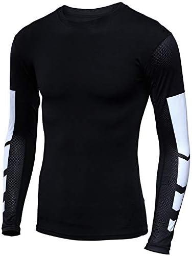 メンズワークアウト メンズ実行ロングスリーブトップは、男性用のドライコンプレッションベースレイヤーシャツジムワークアウトトップスクール 吸汗速乾 (Color : Black, Size : XL)