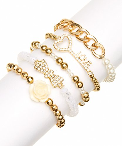 [Lux Accessories imitation Pearl Love Heart Key Rose Flower Beaded Arm Candy Stretch Bracelet Set] (Arm Candy Costume)