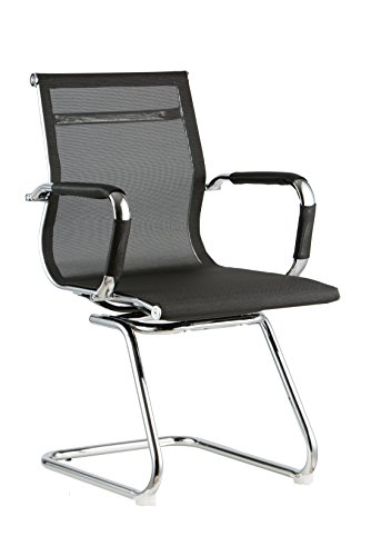 yk-decor-set-of-2-black-mesh-side-chair-with-chrome-sled-base-office-chair