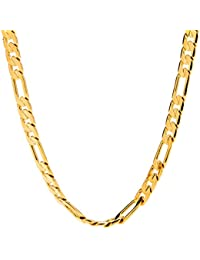 6mm Figaro Chain Gold Necklace for Men & Women with up to...