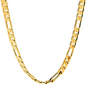 Lifetime jewelry 6mm Figaro Chain Gold Necklace for Men & Women with up to 20X More 24k Plating than Other Necklace Chain + Free Lifetime Replacement Guaranteed - Very Durable 18