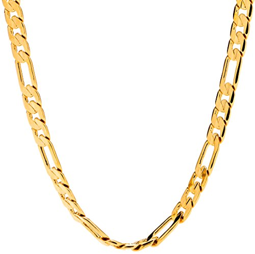18 Gold Figaro Chain - Lifetime jewelry 6mm Figaro Chain Gold Necklace for Men & Women with up to 20X More 24k Plating than Other Necklace Chain + Free Lifetime Replacement Guaranteed - Very Durable 18