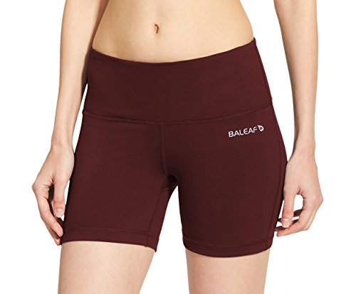 Baleaf Women's High Waist Yoga Shorts Tummy Control Inner Pocket Wine Red Size L