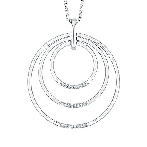 Circle Multi Diamond Pendant - Diamond Multi Circle Pendant Necklace in 14K White Gold (1/8 cttw, Color GH, Clarity SI2)